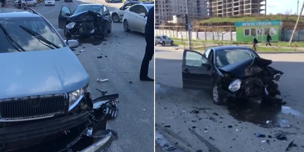 Accident la Ciocana, Două mașini s-au ciocnit într-o intersecție,Două mașini făcute zob, politia moldova, str Mircea cel batrin chisinau,