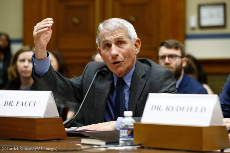 Dr. Anthony Fauci, director of the National Institute of Allergy and Infectious Diseases, testifies in March before Congress on the COVID-19 response. (© Patrick Semansky/AP Images)